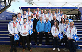 Cabinet Secretary for Sport, Shona Robison ( centre right), Louise Martin, Chair SportScotland, Team Scotland Chef de mission Jon Doig, Michael Cavanagh, Chair Commonwealth Games Scotland and a number of the Scottish Commonwealth Games Medalists during the first day of the 2014 Ryder Cup at Gleneagles. The 40th Ryder Cup is being played over the PGA Centenary Course at The Gleneagles Hotel, Perthshire from 26th to 28th September 2014.: Picture Stuart Adams, www.golftourimages.com: 26-Sep-14