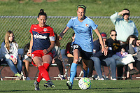 Piscataway, NJ, April 24, 2016.  Defender Ali Krieger (11) of the Washington Spirit  passes the ball by midfielder Sarah Killion (16) of Sky Blue FC.  The Washington Spirit defeated Sky Blue FC 2-1 during a National Women's Soccer League (NWSL) match at Yurcak Field.