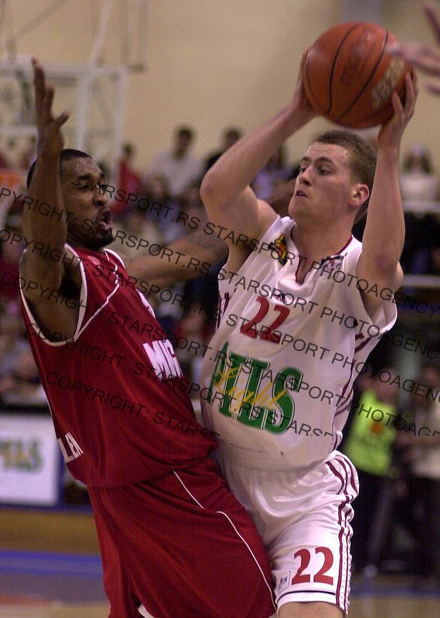 SPORT KOSARKA REFLEKS REFLEX ZELEZNIK FMP HAPOEL Popovic Bojan i Will Solomon 23.03.2004. foto: Pedja Milosavljevic<br />