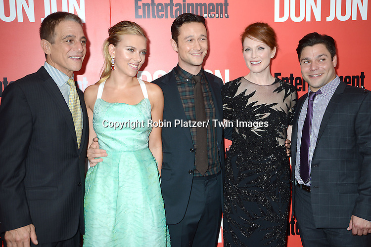 "Tony Danza, Scarlett Johansson and Joseph Gordon-Levit, Julianne Moore and Jeremy Luke attend the ""Don Jon"" New York Movie Premiere on September 12, 2013 at the SVA Theatre in New York City."