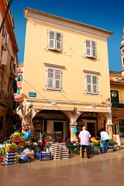 Fruit shop in Corfu Old Town, Greek Ionian Islands