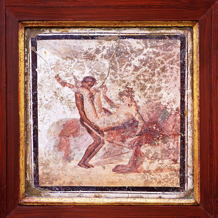1 cent AD Roman Erotic  Mythical fresco  from a house in Pompeii. Naples Archaological Museum  inv no: 27697