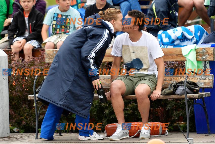 Tania Cagnotto bacia il fidanzato Stefano Parolin prima della gara <br /> Bolzano 29/6/2013 Piscina Lido<br /> 19th Fina Diving Grand Prix <br /> Women's 3m Springboard <br /> Tuffi <br /> Foto Andrea Staccioli Insidefoto