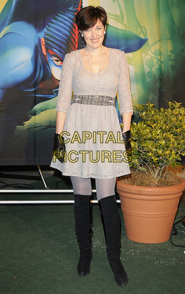 KACEY AINSWORTH.Arrivals at Cirque du Soleil's Varekai gala opening night at the Royal Albert Hall, London, England. .January 5th, 2009.full length black boots silver grey gray dress knee high lace gloves.CAP/CAN.©Can Nguyen/Capital Pictures.