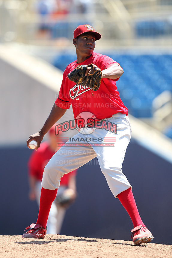 Quad Cities River Bandits Angel De Jesus #44 during a game against the Lake County Captains at Classic Park on July 21, 2011 in Eastlake, Ohio.  Lake County defeated Quad Cities 16-15.  (Mike Janes/Four Seam Images)