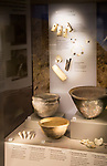 Display of Neolithic pottery and personal items excavated at West Kennet long barrow. With permission of Wiltshire Museum, Devizes, England, UK