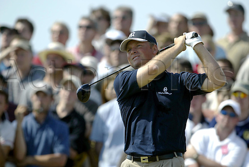 July 19, 2003: MATHIAS GRONBERG (SWE) looks into the distance after driving from the 4th tee, The Open Championship, Royal St George's Golf Club Photo: Neil Tingle/Action Plus...British 2003 golf golfer golfers 030719 tees teeing off.wood
