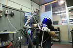 Titanium frame TIG welding at the De Rosa factory, Cusano Milanino, Italy. 12th October 2018.<br /> Picture: Eoin Clarke | Cyclefile<br /> <br /> <br /> All photos usage must carry mandatory copyright credit (© Cyclefile | Eoin Clarke)