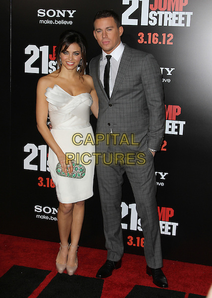 "Jenna Dewan, Channing Tatum.""21 Jump Street"" Los Angeles Premiere Held At Grauman's Chinese Theatre, Hollywood, California, USA..March 13th, 2012.full length white one shoulder dress green clutch bag suit grey gray married husband wife .CAP/ADM/KB.©Kevan Brooks/AdMedia/Capital Pictures."