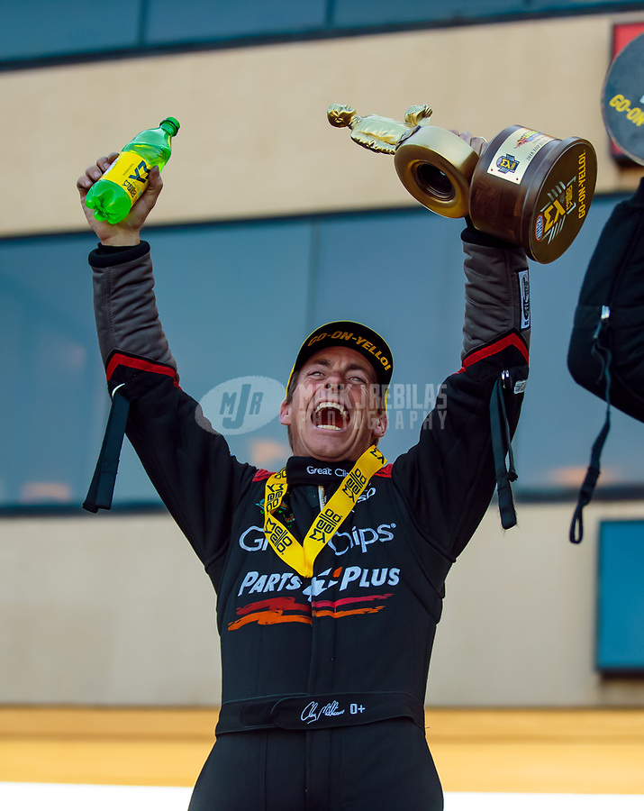 Jun 3, 2018; Joliet, IL, USA; NHRA top fuel driver Clay Millican celebrates after winning the Route 66 Nationals at Route 66 Raceway. Mandatory Credit: Mark J. Rebilas-USA TODAY Sports
