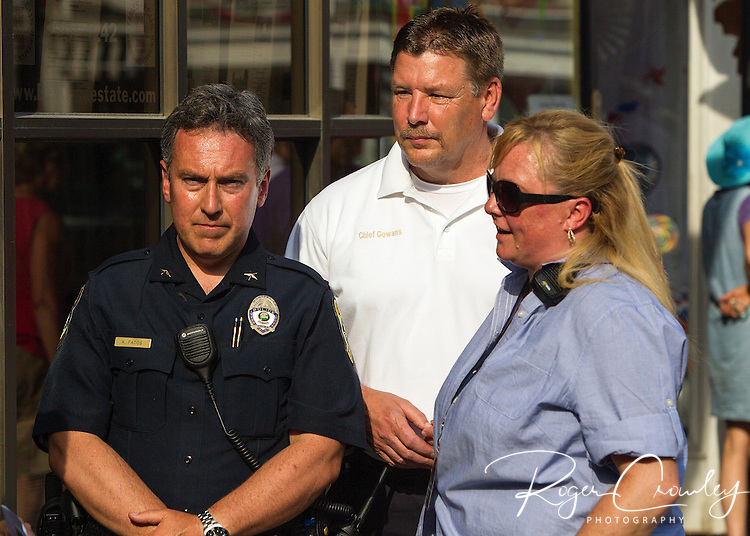 3rd of July Montpelier Independence Day Celebration was cut short by bad weather. Parade was canceled and abbreviated fireworks were at 6:30pm rather than 9:30pm.<br /> L/R Police Chief Tony Facos, Fire Chief Mitch Gowens and Assistant City Manager Jessie Baker.