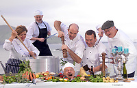 REPRO  ; 24-9-2013; Dingle chefs, Jill Burton, Louise Brosnan, Mark Murphy, Martin Bealin, Trevis L Gleason and 'the head on a plate'  Jean Marie Vaireaux pictured at Slea Head on the Dingle Penninsula on Tuesday for the launch of the annual Dingle Food Festival and Blas na h-Eireann Irish Food Awards which will take place from October 4th-6th. The annual festival includes a taste trail with over 60 outlets, a Tuna cook-off, cookery demonstrations, open air markets and the presentation of the Irish Food Awards. More information on www.dinglefood.com<br /> Picture by Don MacMonagle<br /> <br /> <br /> PR PHOTO FROM DINGLE FOOD FESTIVAL <br /> <br /> <br /> &copy; Photo by Don MacMonagle - macmonagle.com<br /> info@macmonagle.com