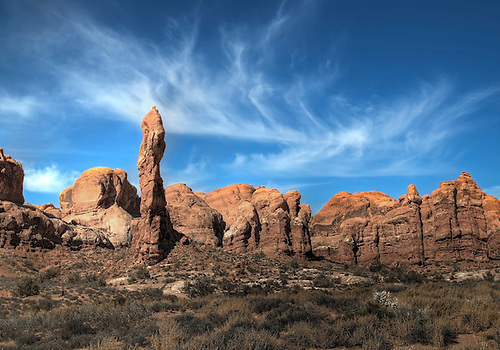 Unusual sandstone rock formations make up the landscape at Arches National Park, Utah