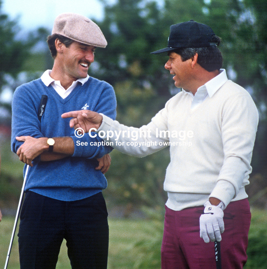 Jaime Gonzalez, professional golfer, Brazil, left, and Lee Trevino, top USA professional golfer, in relaxed mood at 1985 Irish Open Golf Championship sponsored by local tobacco company, PJ Carroll &amp; Co Ltd. 19850605LT2<br /> <br /> Copyright Image from Victor Patterson, 54 Dorchester Park, Belfast, UK, BT9 6RJ<br /> <br /> t: +44 28 90661296<br /> m: +44 7802 353836<br /> vm: +44 20 88167153<br /> e1: victorpatterson@me.com<br /> e2: victorpatterson@gmail.com<br /> <br /> For my Terms and Conditions of Use go to www.victorpatterson.com