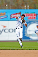 West Michigan Michigan Whitecaps second baseman Anthony Pereira (9) makes a tough throw to first base against the Fort Wayne TinCaps during the Midwest League baseball game on April 26, 2017 at Fifth Third Ballpark in Comstock Park, Michigan. West Michigan defeated Fort Wayne 8-2. (Andrew Woolley/Four Seam Images via AP Images)