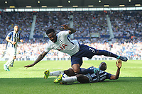 Tottenham Hotspur's Danny Rose is tackled by West Bromwich Albion's Allan-Romeo Nyom<br /> <br /> Photographer Ashley Crowden/CameraSport<br /> <br /> The Premier League - West Bromwich Albion v Tottenham Hotspur - Saturday 5th May 2018 - The Hawthorns - West Bromwich<br /> <br /> World Copyright &copy; 2018 CameraSport. All rights reserved. 43 Linden Ave. Countesthorpe. Leicester. England. LE8 5PG - Tel: +44 (0) 116 277 4147 - admin@camerasport.com - www.camerasport.com
