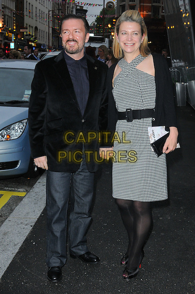 RICKY GERVAIS & JANE FALLON .Marie Claire Inspire And Mentor Campaign Cocktail Reception held at the W Hotel, Leicester Square - Arrivals..London, England, UK, 17th May 2011..full length  black waist belt checked dress jacket blazer jeans holding hands tights peep toe shoes navy blue couple  gingham  christian louboutin .CAP/CJ.©Chris Joseph/Capital Pictures.
