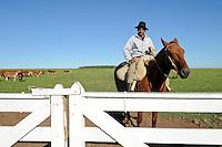 URUGUAY Estancia La Magdalena bei Salto, 18.ooo Hektar Weideland fuer 12.000 Rinder und 18.000 Schafe und 5.000 hektar Ackerland fuer Reis, Gensoja und Zuckerhirse, Gauchos auf Pferd treiben eine Rinderherde /<br /> URUGUAY Salto, ranch La Magdalena, a gaucho ( cowboy ) on horse and cows