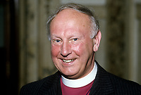 Most Rev Donald Caird, Church of Ireland Bishop of Meath & Kildare. The Church of Ireland is an autonomous province of the Anglican Communion, 19850516DC1.<br /> <br /> Copyright Image from Victor Patterson,<br /> 54 Dorchester Park, <br /> Belfast, UK, BT9 6RJ<br /> <br /> t1: +44 28 9066 1296 (from Rep of Ireland 048 9066 1296)<br /> t2: +44 28 9002 2446 (from Rep of Ireland 048 9002 2446)<br /> <br /> m: +44 7802 353836<br /> <br /> e: victorpatterson@me.com<br /> www.victorpatterson.com<br /> <br /> Please see my Terms and Conditions of Use at www.victorpatterson.com. It is IMPORTANT that you familiarise yourself with them.<br /> <br /> Images used on the Internet must be visibly watermarked i.e. © Victor Patterson<br /> within the body of the image and copyright metadata must not be deleted. Images <br /> used on the Internet have a size restriction of 4kbs and will be chargeable at current<br />  NUJ rates unless agreed otherwise.<br /> <br /> This image is only available for the use of the download recipient i.e. television station, newspaper, magazine, book publisher, etc, and must not be passed on to any third <br /> party. It is also downloaded on condition that each and every usage is notified within 7 days to victorpatterson@me.com<br /> <br /> The right of Victor Patterson to be identified as the author is asserted in accordance with The Copyright Designs And Patents Act (1988). All moral rights are asserted.
