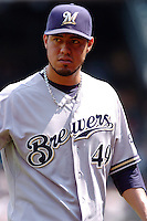 Milwakee Brewers pitcher Yovani Gallardo  #49 during a game against the New York Mets at Citi Field on August 21, 2011 in Queens, NY.  Brewers defeated Mets 6-2.  Tomasso DeRosa/Four Seam Images