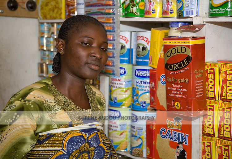 A shop in the Agboyi-Ketu neighborhood of Lagos, Nigeria, sells Gold Circle condoms distributed by the Society for Family Health, Nigeria's largest indigenous NGO and social marketing organization.
