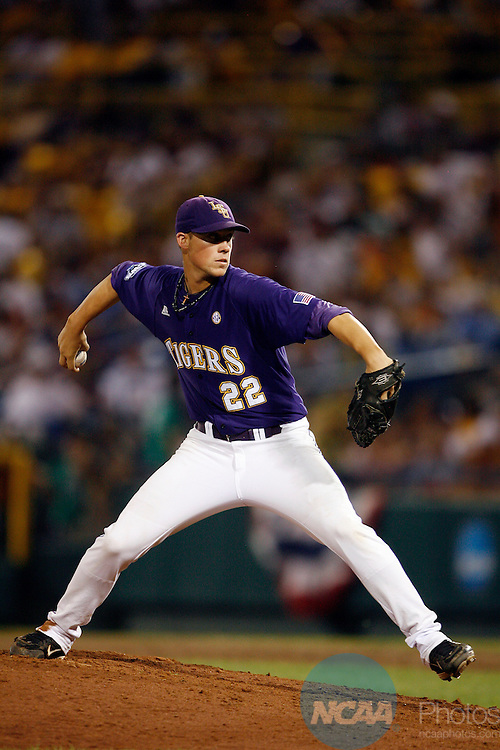 22 JUNE 2009:  Matty Ott (22) of Louisiana State University pitches against the University of Texas during the Division I Men's Baseball Championship held at Rosenblatt Stadium in Omaha, NE.  LSU defeated Texas 7-6 in the first game of the series.  Jamie Schwaberow/NCAA Photos