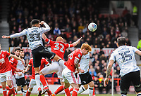 Derby County's defender Curtis Davies (33) heads wide during the Sky Bet Championship match between Nottingham Forest and Derby County at the City Ground, Nottingham, England on 10 March 2018. Photo by Stephen Buckley / PRiME Media Images.