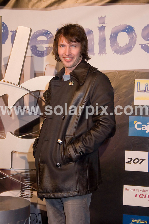 **ALL ROUND PICTURES FROM SOLARPIX.COM**.**SYNDICATION RIGHTS FOR UK, CANADA, USA, SOUTH AFRICA, SOUTH AMERICA, DUBAI, AUSTRALIA, NEW ZEALAND, GREECE, ASIA & RUSSIA**.40 Principales (Top 40) Awards Gala event, held at the Sports Palace, Madrid, Spain, 12th December 2008..This pic: James Blunt..JOB REF: 8150 SPA     DATE: 12_12_2008.**MUST CREDIT SOLARPIX.COM OR DOUBLE FEE WILL BE CHARGED* *UNDER NO CIRCUMSTANCES IS THIS IMAGE TO BE REPRODUCED FOR ANY ONLINE EDITION WITHOUT PRIOR PERMISSION*