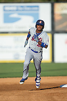 Jose Miguel Medina (44) of the Kingsport Mets hustles towards third base against the Danville Braves at American Legion Post 325 Field on July 9, 2016 in Danville, Virginia.  The Mets defeated the Braves 10-8.  (Brian Westerholt/Four Seam Images)