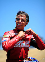 Jul. 17, 2010; Sonoma, CA, USA; NHRA pro stock motorcycle rider Hector Arana during qualifying for the Fram Autolite Nationals at Infineon Raceway. Mandatory Credit: Mark J. Rebilas-