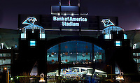 "Bank of America Stadium in downtown Charlotte, NC, is home to the Carolina Panthers. Formerly known as Carolinas Stadium and Ericsson Stadium, the 73,500-seat football stadium was named Bank of America Stadium in 2004. For that reason, many fans now call the stadium ""The Vault,"" or ""The Bank."""