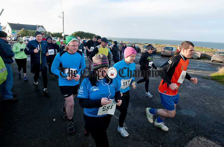 Heading out from O' Donohue's for the Fanore Burren 10K Walk and Run at the weekend. Photograph by Declan Monaghan