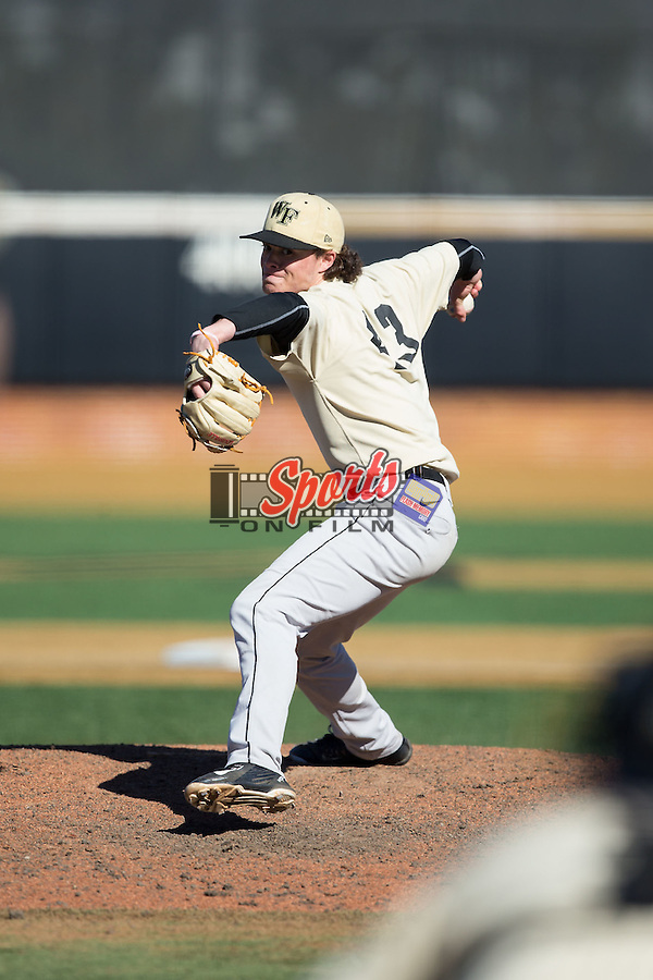 Griffin Roberts (43) of the Wake Forest Demon Deacons delivers a pitch to the plate during an intrasquad scrimmage at Wake Forest Baseball Park on January 30, 2016 in Winston-Salem, North Carolina.  (Brian Westerholt/Sports On Film)