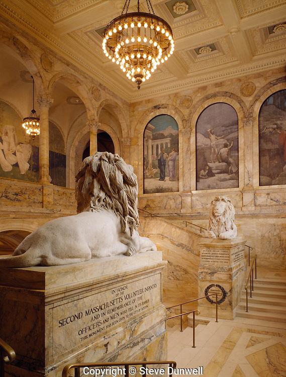 Boston Public Library entrance stairway, Boston, MA . McKim Mead White, murals by Puvis de Chavannes, Boston, MA lions by St. Gaudens