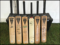 BNPS.co.uk (01202 558833)<br /> Pic JohnGoodwin/BNPS<br /> <br /> Legendary bat maker is selling up his historic collection of willow wonders.<br /> <br /> A collection of cricket bats that were used by some of finest players of all-time have been put up for sale by the man who crafted them with his own hands.<br /> <br /> Duncan Fearnley, 79, is best known for producing bats for legendary England all-rounder Ian Botham throughout his illustrious career.<br /> <br /> He also created hand-made blades for the likes of Viv Richards, Clive Lloyd and Indian hero Sunil Gavaskar, all featuring his famous 'three stump' logo.<br /> <br /> At the end of a season the bats were often donated back to him by generous players and he has now decided to part with a number of them.