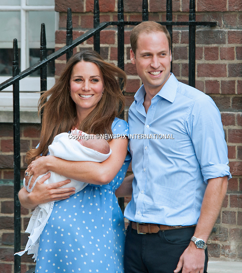 KATE EXPECTING 2ND CHILD<br /> Kensington Palace has confirmined that the Duke and Duchess of Cambridge are expecting their second child.<br /> <br /> 23.07.2013; LONDON : CATHERINE, DUCHESS OF CAMBRIDGE, PRINCE WILLIAM AND NEW BABY<br /> who was born on 22nd July 2013 at 8lbs 4oz, leave the Lindo Wing, St. Mary's Hospital, Paddington,London<br /> Mandatory Credit Photo: &copy;Joe Dias/NEWSPIX INTERNATIONAL<br /> <br /> **ALL FEES PAYABLE TO: &quot;NEWSPIX INTERNATIONAL&quot;**<br /> <br /> IMMEDIATE CONFIRMATION OF USAGE REQUIRED:<br /> Newspix International, 31 Chinnery Hill, Bishop's Stortford, ENGLAND CM23 3PS<br /> Tel:+441279 324672  ; Fax: +441279656877<br /> Mobile:  07775681153<br /> e-mail: info@newspixinternational.co.uk