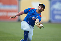 South Bend Cubs second baseman Christian Donahue (5) attempts to catch a pop fly during the game against the West Michigan Whitecaps at Fifth Third Ballpark on June 10, 2018 in Comstock Park, Michigan. The Cubs defeated the Whitecaps 5-4.  (Brian Westerholt/Four Seam Images)