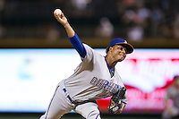 Durham Bulls relief pitcher Jose Dominguez (36) in action against the Charlotte Knights at BB&T BallPark on July 22, 2015 in Charlotte, North Carolina.  The Knights defeated the Bulls 6-4.  (Brian Westerholt/Four Seam Images)