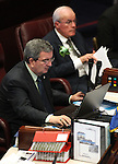 Nevada Senate Republicans Mike McGinnees, left, and Dean Rhoads work on the Senate floor at the Legislature in Carson City, Nev., on Thursday, March 17, 2011..Photo by Cathleen Allison