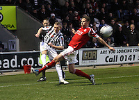Gary Teale beats Clark Robertson with the cross in the St Mirren v Aberdeen Clydesdale Bank Scottish Premier League match played at St Mirren Park, Paisley on 9.11.12.