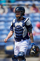 Binghamton Rumble Ponies catcher Tomas Nido (7) during a game against the Altoona Curve on June 14, 2018 at NYSEG Stadium in Binghamton, New York.  Altoona defeated Binghamton 9-2.  (Mike Janes/Four Seam Images)