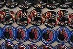 John McCain pins on sale at an exhibit on the American presidential experience at Invesco Field in Denver, Colorado on August 22, 2008.   The Democratic National Convention officially kicks off Monday August 25, 2008 at the nearby Pepsi Center.