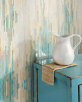 Reve, a hand-cut jewel glass mosaic, shown in Aquamarine, Agate, and Quartz.