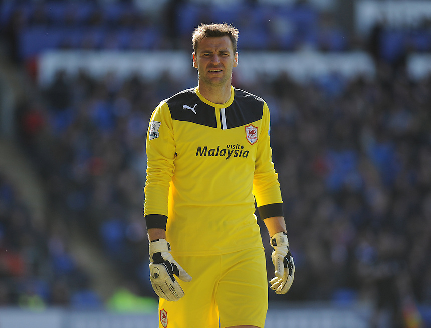 Cardiff City's David Marshall in action during todays match  <br /> <br /> Photographer Ashley Crowden/CameraSport<br /> <br /> Football - Barclays Premiership - Cardiff City v Chelsea - Sunday 11th May 2014 - Cardifff City Stadium - Cardiff<br /> <br /> &copy; CameraSport - 43 Linden Ave. Countesthorpe. Leicester. England. LE8 5PG - Tel: +44 (0) 116 277 4147 - admin@camerasport.com - www.camerasport.com