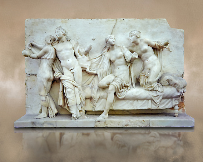 Roman marble relief sculpture known as  Alcibiades and Etere, Franeses Collection, Roman copy of an earlier Greek Helenistic original , inv no 6688, Secret Museum or Secret Cabinet, Naples National Archaeological Museum , brown background
