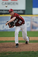 Temple University Owls pitcher Patrick Krall (23) during a game against the University of Louisville Cardinals at Campbell's Field on May 10, 2014 in Camden, New Jersey. Temple defeated Louisville 4-2.  (Tomasso DeRosa/ Four Seam Images)