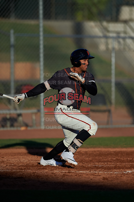 AZL Giants Black Jose Rivero (2) at bat during an Arizona League game against the AZL Angels at the Giants Baseball Complex on June 21, 2019 in Scottsdale, Arizona. AZL Angels defeated AZL Giants Black 6-3. (Zachary Lucy/Four Seam Images)