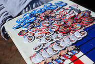 Annandale, VA - July 14, 2016: A vendor sells campaign buttons outside of a campaign rally held by democratic presidential candidate Hillary Clinton at the Ernst Community Cultural Center on the grounds of the Northern Virginia Community College, July 14, 2016. (Photo by Don Baxter/Media Images International)