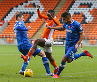 Blackpool's Viv Solomon-Otabor runs at /Portsmouth's Oliver Hawkins and Gareth Evans<br /> <br /> Photographer Alex Dodd/CameraSport<br /> <br /> The EFL Sky Bet League One - Blackpool v Portsmouth - Saturday 11th November 2017 - Bloomfield Road - Blackpool<br /> <br /> World Copyright &copy; 2017 CameraSport. All rights reserved. 43 Linden Ave. Countesthorpe. Leicester. England. LE8 5PG - Tel: +44 (0) 116 277 4147 - admin@camerasport.com - www.camerasport.com