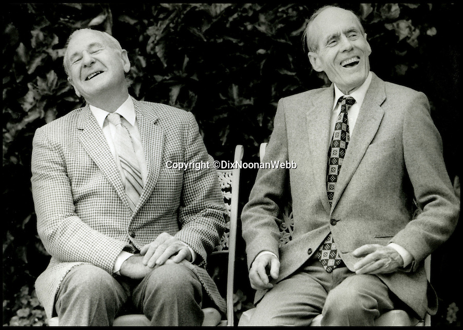 BNPS.co.uk (01202 558833)<br /> Pic: DixNoonanWebb/BNPS<br /> <br /> *Please use full byline*<br /> <br /> Les Munro (left) sharing a lighter moment with Wing Commander Leonard Cheshire VC, who took over as 617 Squadron commander, at a 1986 reunion in New Zealand.<br /> <br /> The last surviving Dambusters pilot is to sell his gallantry medals awarded for the legendary raid and donate the proceeds to the Bomber Command Memorial fund.<br /> <br /> Squadron Leader Les Munro hopes to raise £50,000 from the sale which will go towards the upkeep of the newly-built memorial dedicated to the 55,573 airmen killed during the Second World War.